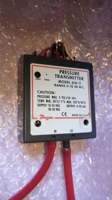 0-10WC Range 0-10WC Range Dwyer Instruments 616C-3 Dwyer Series 616C Differential Pressure Transmitter