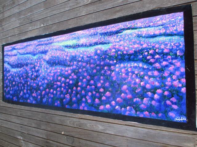 verbena fields aboriginal style art painting canvas purple Desert Bush Australia