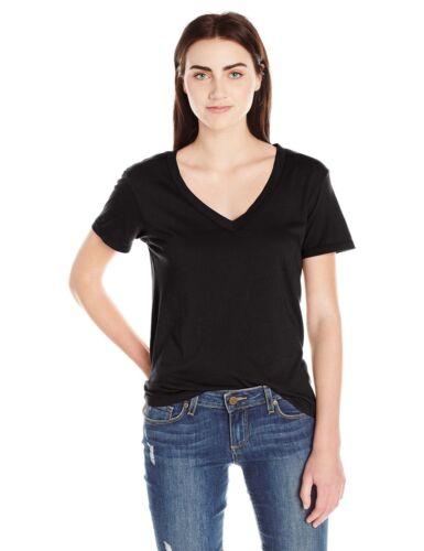 Splendid  Mills Women/'s Modal Cotton Jersey V neck t shirt Black SUPER SOFT XS