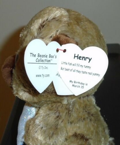 NEW MWMT Ty Beanie Boos Canada Exclusive HENRY the Bear w// Fish 6 Inch