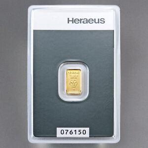 1g Gramm Goldbarren ✰HERAEUS✰ Feingold 999.9 mit Zertifikat in Blister