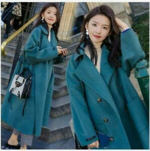Womens Fashion Wool Blend Double Breast Faux Fur Winter Coat Jacket Outwear 9405