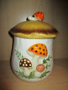 Vintage-1976-Sears-Roebuck-and-Co-Japan-Merry-Mushroom-11-034-Canister-Jar-Ceramic