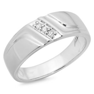 23ace857218dc Details about 0.12 Carat 14K White Gold Diamond Men's 3 Stone Wedding  Anniversary Band Size 12