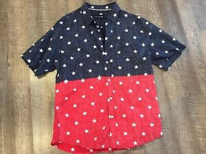 Ocean-Current-Mens-Extra-Large-XL-Red-Blue-White-Stars-Casual-Shirt-Merica-USA