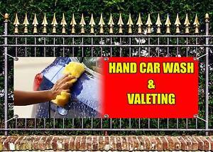 OUTDOOR PVC HAND CAR WASH AND VALETING BANNER GARAGE SIGN ADVERT FREE ART WORK