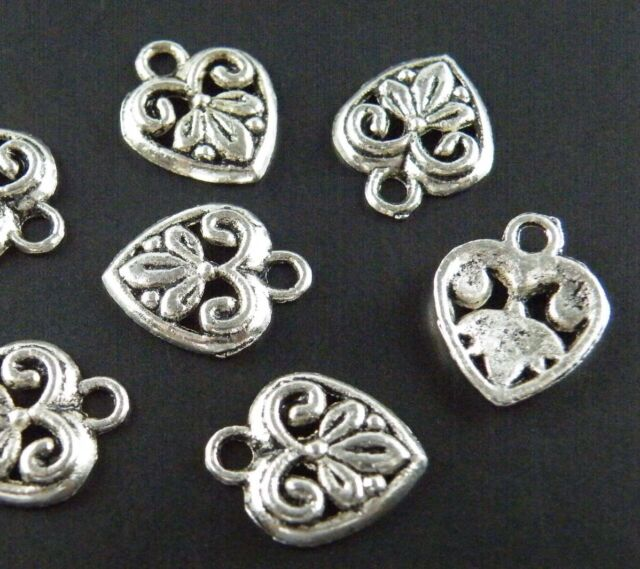 100pcs Tibetan Silver/Gold Color Heart Charms 15.5x13mm M150