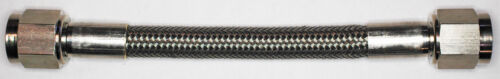 Long Stainless Steel Braid PTFE Hose Assembly both straights NC AN-6   84 In
