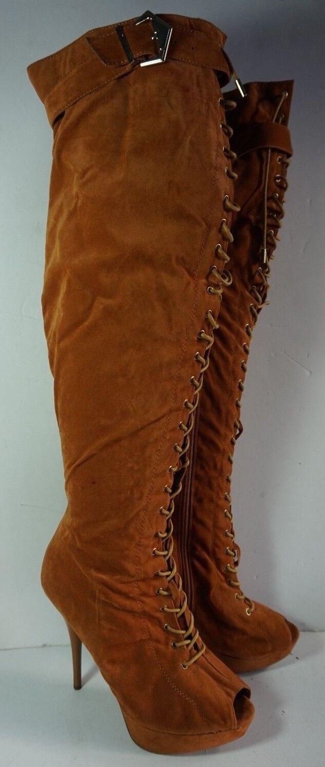 Shiekh Thigh High Brown High Heel Lace Up Boots Womans Sz 9.5 Platform Stiletto
