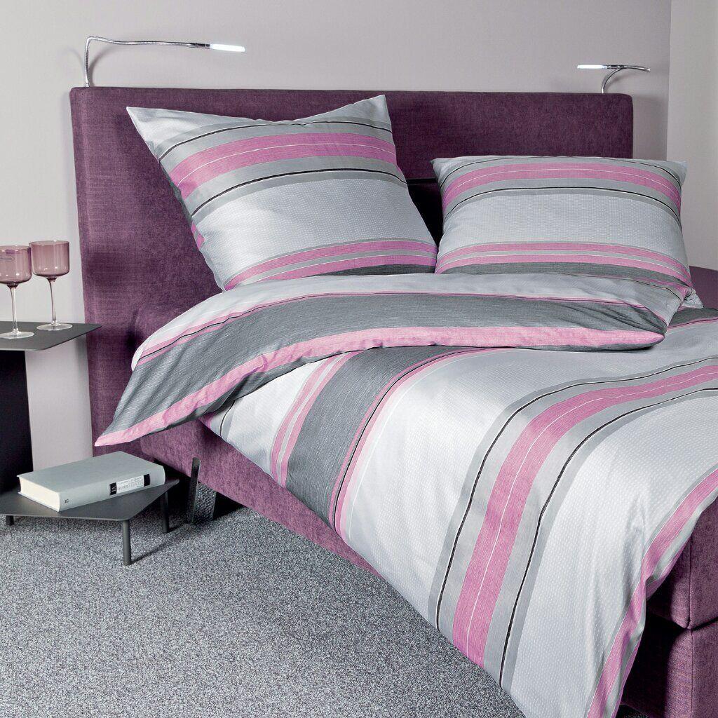 Janine Mako-Satin Bettwäsche Moments Rosa-grau 98033-05 gestreift aus Baumwolle   | Zu einem erschwinglichen Preis