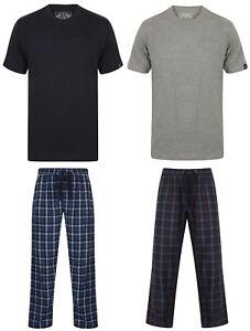 mens pyjama set Tokyo Laundry t shirt top bottom loungewear check 2 piece winter