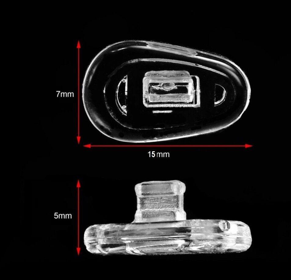 3 Paar (6 Stück) Nasenpads Brillenpads -15 mm Tropfenform Silikon Klicksystem
