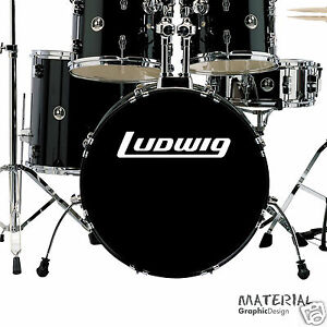 2x ludwig logo sticker decal fork bass drum head drums kit percussion skin car ebay. Black Bedroom Furniture Sets. Home Design Ideas