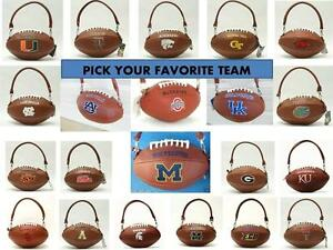 Image Is Loading Football Shaped Purse College Embroidered Ncaa Logo Pick