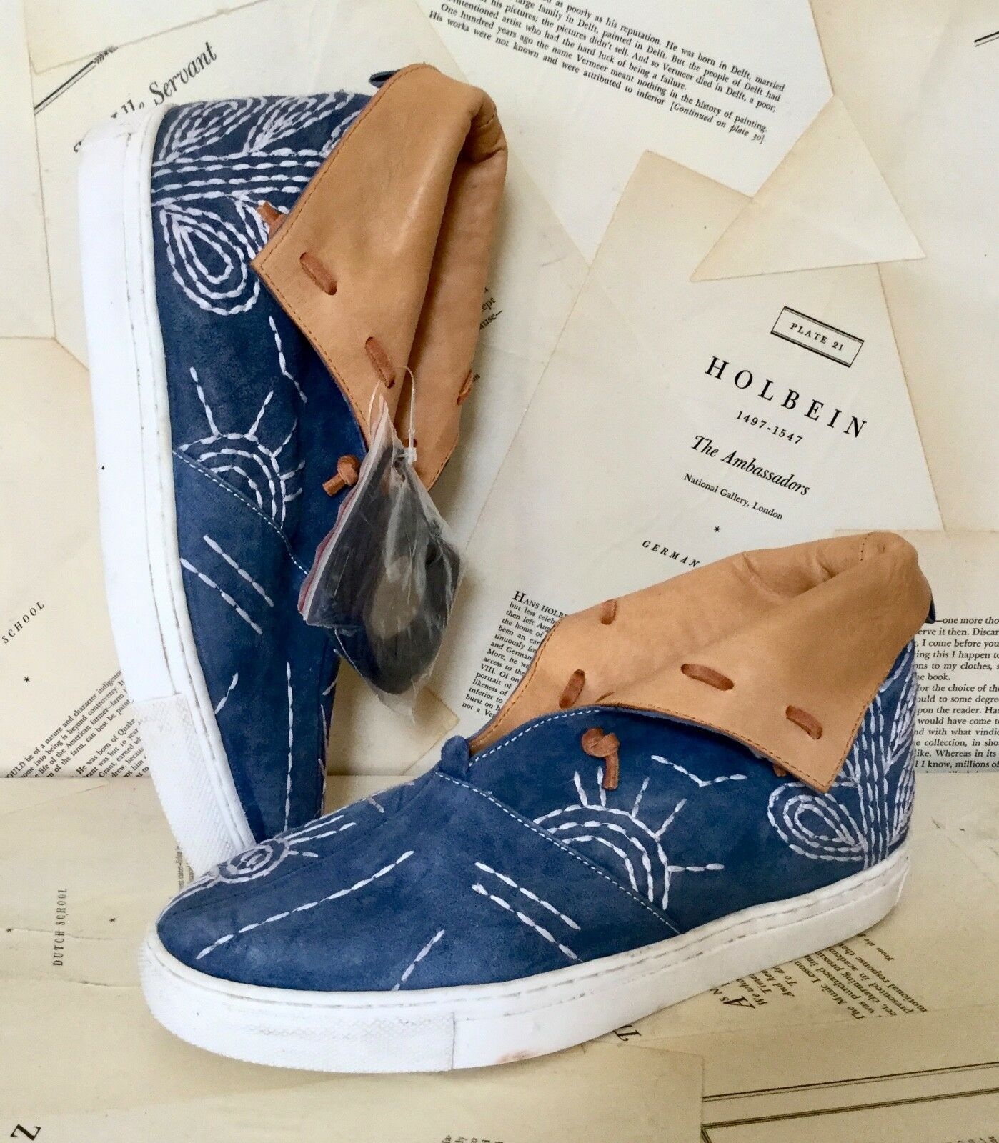 NEW Free People Blue Suede Embroidery Leather Cuff Sneaker Slip On Boot 39/8.5-9