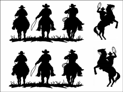 Cow Boy Country horse Silhouette Background Edible Cake Topper Wafer or Icing