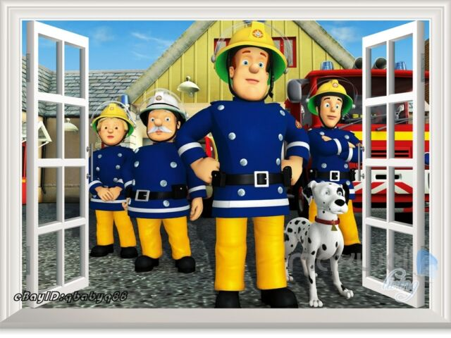 Fireman Sam Rescue Team Truck 3D Window Wall Decals kids Nursery Stickers Mural