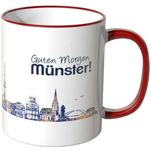 """Schriftzug /""""Guten Morgen Münster!/"""" mit Skyline bei Nacht WANDKINGS Tasse"""
