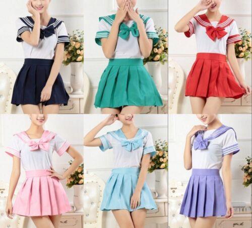 Japanese School Girls Uniform Dress Sailor Outfit Women Anime Cosplay Costume UK