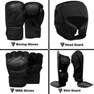 RDX-Gants-de-Boxe-Gants-MMA-Garde-de-tete-Protege-tibia-Entrainement-de-Noir-FR
