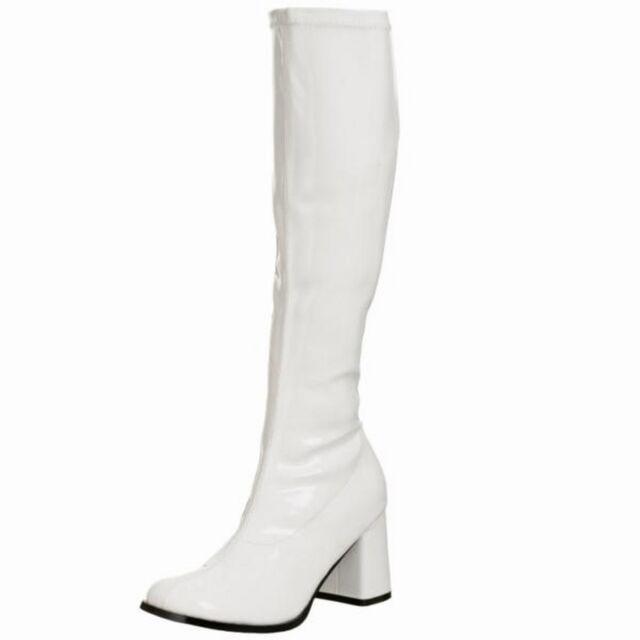 FUNTASMA Halloween Stretch Patent Block Heel Knee High Retro Boot GOGO-300 White