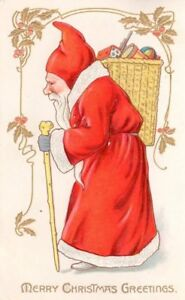 Antique-Embossed-Tuck-039-s-Christmas-Postcard-Santa-Belsnickle