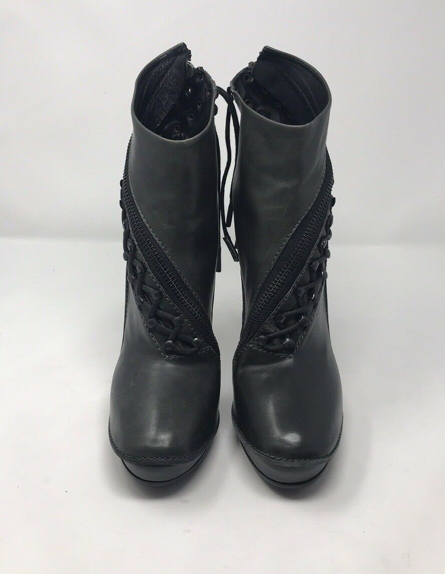 Haider Ackermann Olive Green Ankle Boot Lace Lace Lace up Design and Zippers Sz 10   40M 15e098