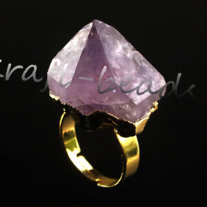 Natural-Raw-Amethyst-Quartz-Durzy-Crystals-Stone-Adjustable-Reiki-Finger-Ring