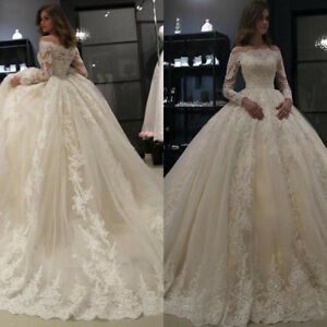 Off Shoulder Ball Gown Bridal Gowns Long Sleeve Lace Dubai Arabic ... 196dd6957765