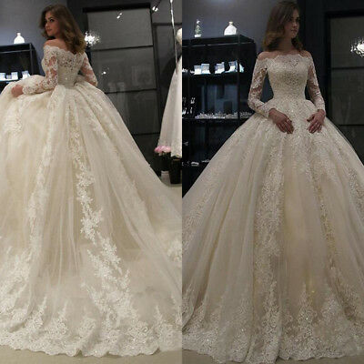Off Shoulder Ball Gown Bridal Gown Long Sleeve Lace Dubai Arabic