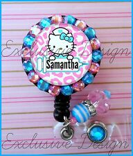 CUSTOM NAME DENTAL HYGIENIST HELLO KITTY BLING ID REEL BADGE HOLDER with Charms