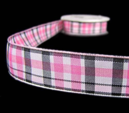 """3 Yds Pink Black White Scottsdale Plaid Ribbon 7//8/""""W"""