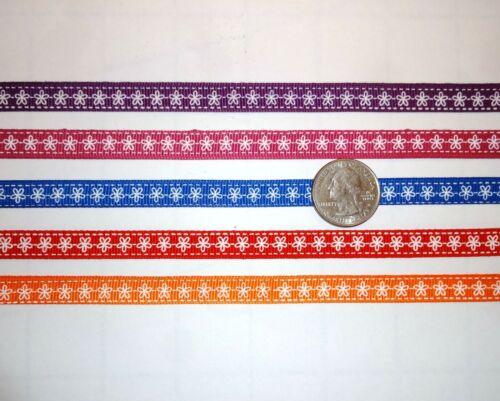 "Grosgrain Ribbon 3//8/"" inch Purple White Flowers Floral Hair Bow XMAS THREE yards"