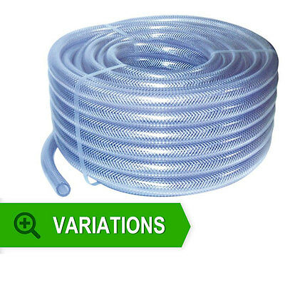 Reinforced Clear PVC Braided Hoses - Flexible Pipe Air Water Oil Fuel Food Grade