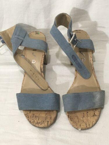 Womens Unisa Denim Shoes Block Heel Sandals With D