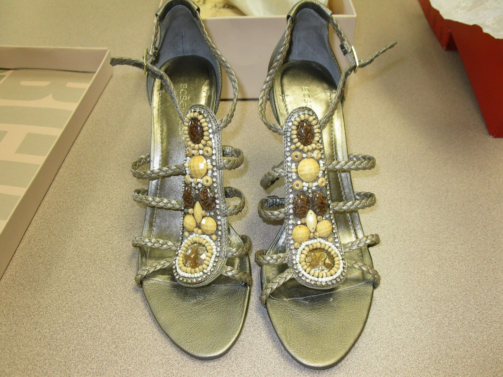 BCBG Generation Polands Brown Bronze Gold Jeweled Strappy Sandals 4