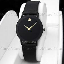 Men's Movado SAPPHIRE PVD Case Black Dial Leather Very Thin Swiss Quartz Watch