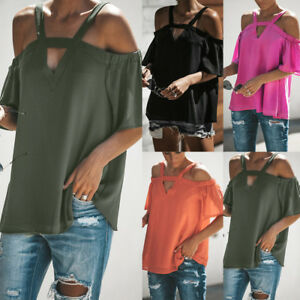 NEW-Womens-Cold-Off-Shoulder-Tops-T-Shirt-V-Neck-Short-Sleeve-Summer-Top-Blouse