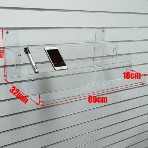 NEW ACRYLIC 3-TIER SLATWALL SLATBOARD SHELVES DISPLAY MOBILE PHONES ACCESSORIES