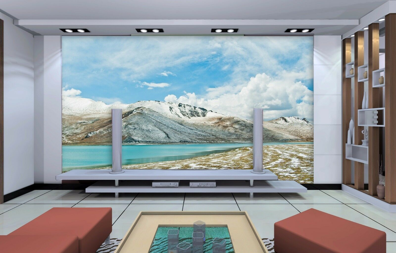 3D Hills River 447 Wallpaper Murals Wall Print Wallpaper Mural AJ WALL UK Summer