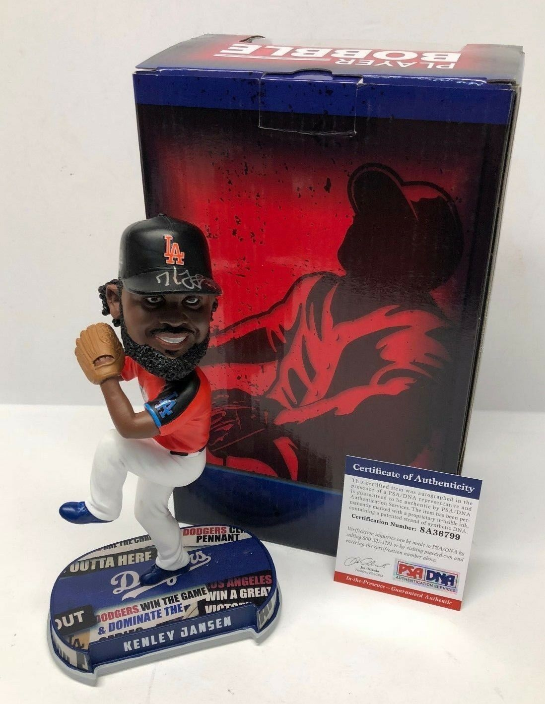 Kenley Jansen Signed Los Angeles Dodgers All-Star Baseball Bobblehead PSA 36799