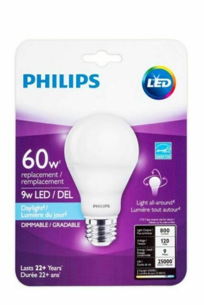 Led Daylight Bulb: Philips 455873 60W Equivalent Dimmable A19 LED Light Bulb