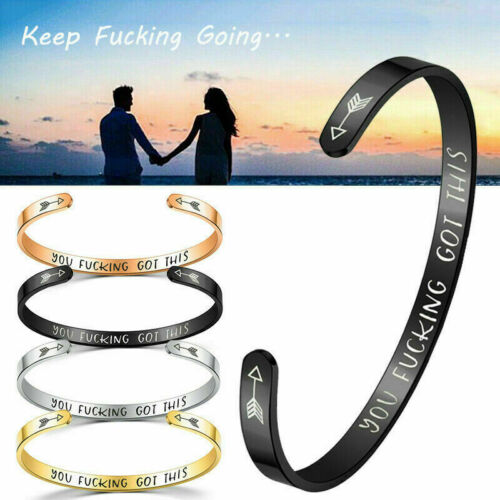 UK Personalized Cuff Bracelet Letter Engraved Bangle Gifts Keep Fucking Going