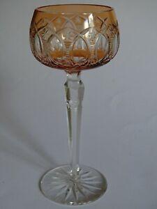 Expressif Ancien Verre A Vin Du Rhin Roemer Cristal Couleur Orange Taille Ht 19,5