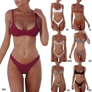 87fba2c8a9a Details about Solid Color Women Padded Bra G-string Thong Bikini Swimwear  Two Pieces Swimsuit