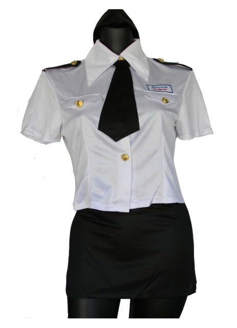 Air Hostess Flight Attendant Stewardes Uniform Fancy Dress Costume Halloween