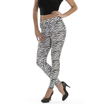 Zebra Leggings Jeggings Tights Leggins Stretchhose für Damen Schwarz-Weiß L-XL