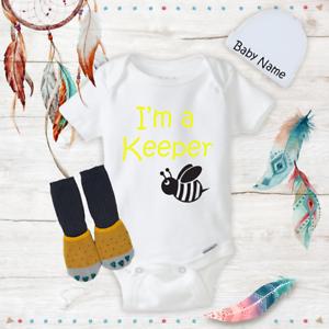 I/'m a Bee Keeper Honey Funny Baby Onesies Beanie Socks Baby Shower Gift