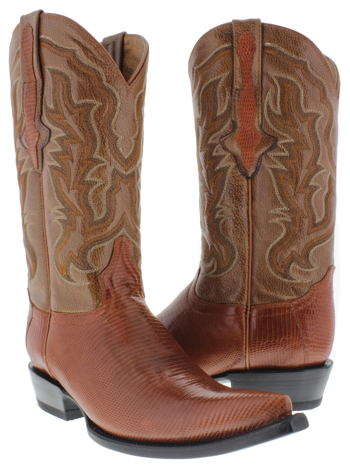 Mens cognac real lizard armadillo skin leather western cowboy boots 3x toe