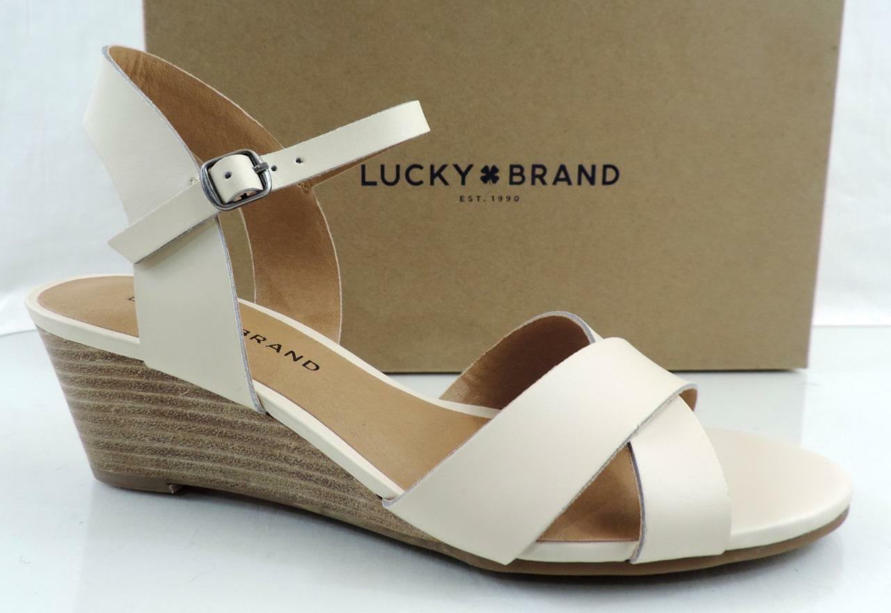 donna scarpe Lucky Brand  Jaidan Low Wedge Sandals Leather Linen Beige Dimensione 10  una marca di lusso
